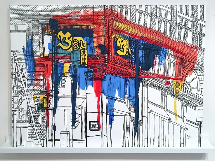 Acrylic painting abstract contemporary art traditional the bay toronto downtown architecture